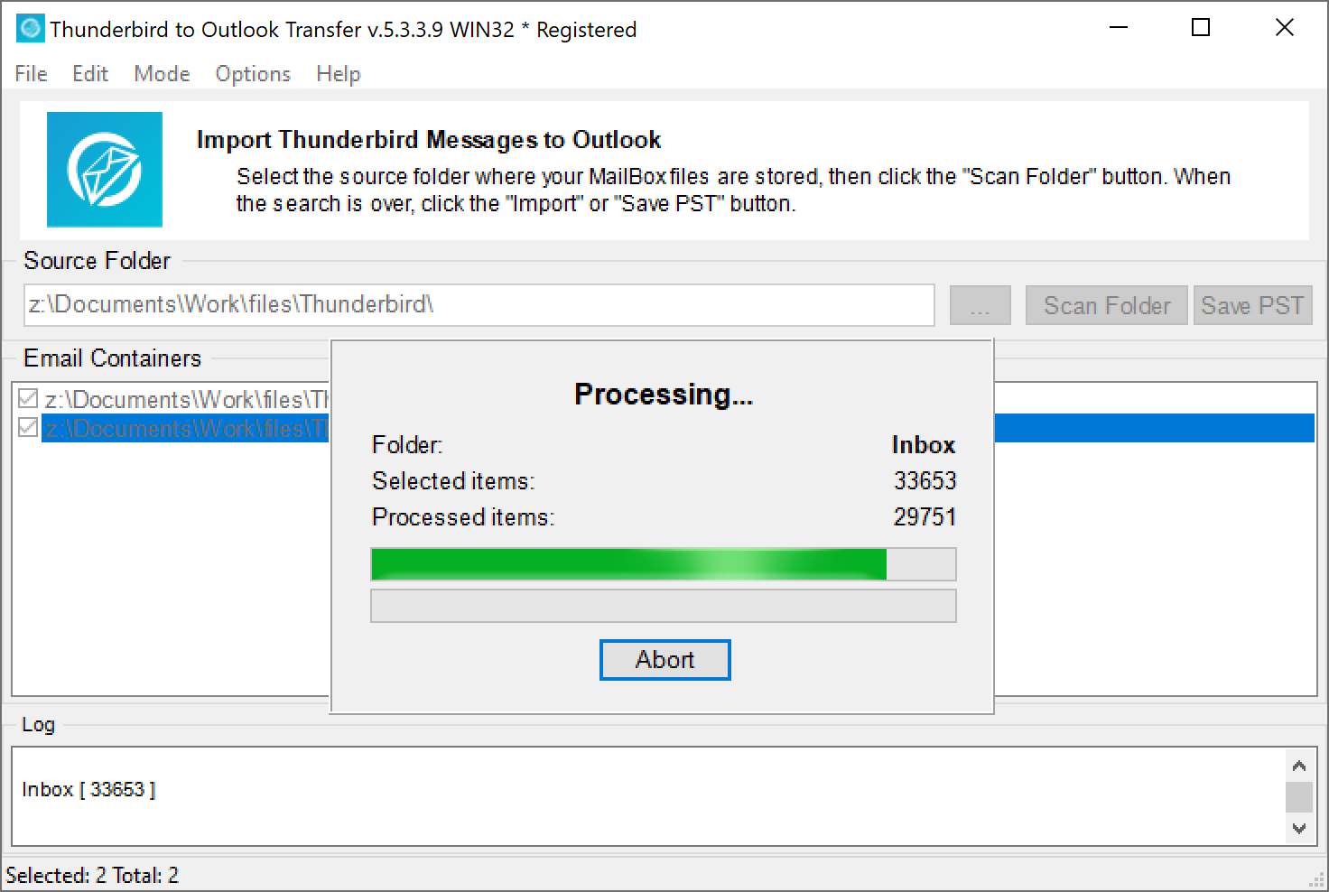 Thunderbird Outlook Transfer -kuvakaappaus