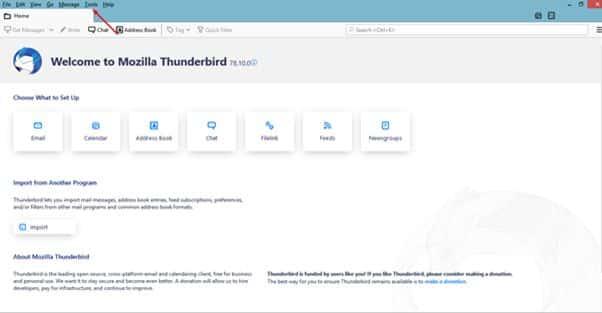 strumenti di thunderbird