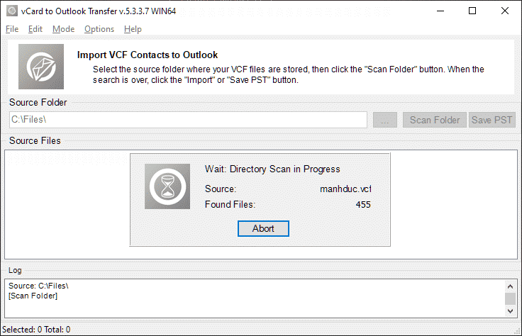 vcard till Outlook-transfer full-3