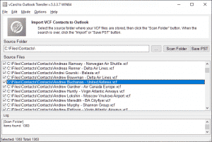 VCF to PST Converter - List of contacts