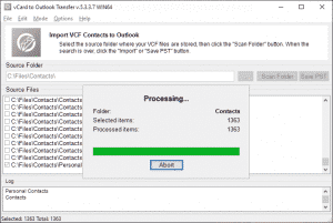 VCF to PST Converter - Saving contacts to Outlook format